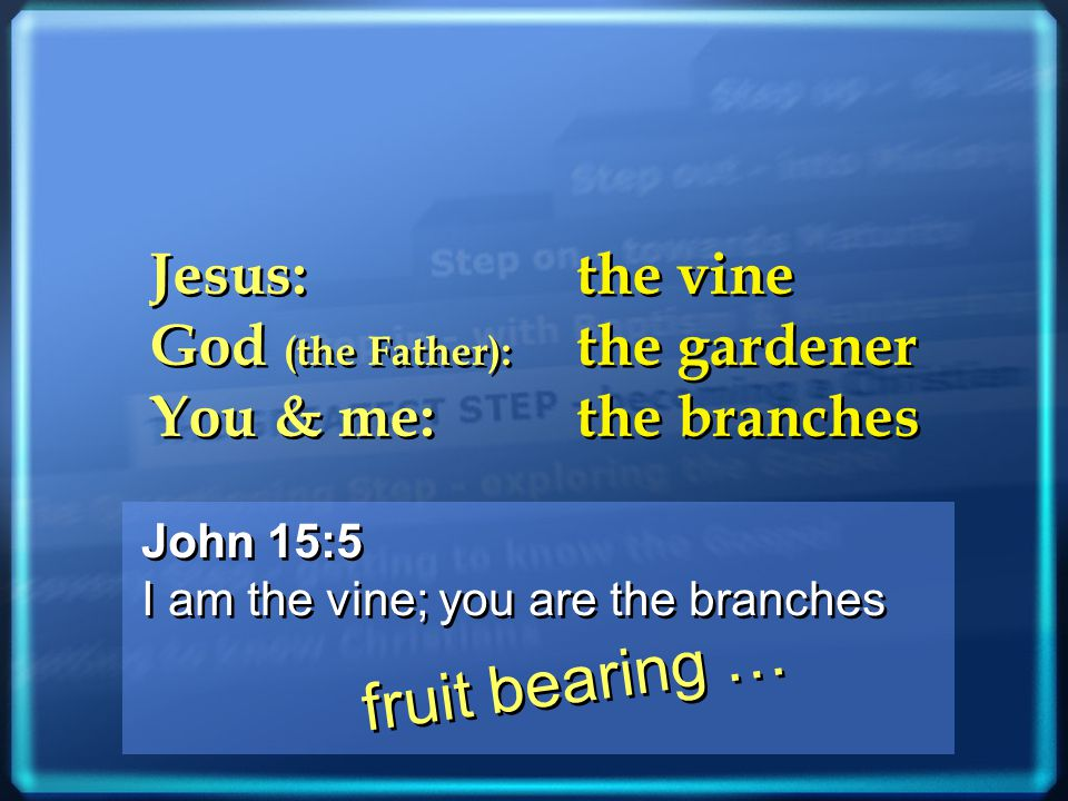 John 15:5 I am the vine; you are the branches John 15:5 I am the vine; you are the branches Jesus: the vine God (the Father): the gardener You & me: the branches Jesus: the vine God (the Father): the gardener You & me: the branches fruit bearing …