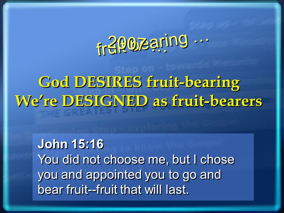 John 15:16 You did not choose me, but I chose you and appointed you to go and bear fruit--fruit that will last.