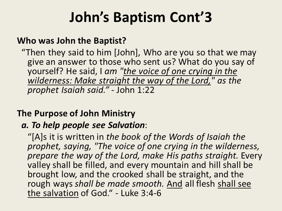 John's Baptism Cont'3 Who was John the Baptist.