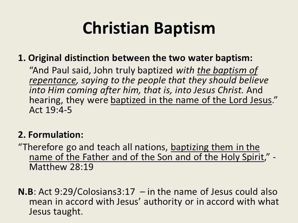 Christian Baptism 1.