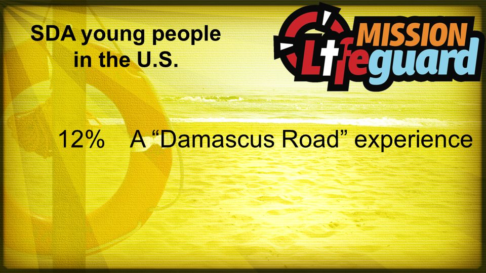 SDA young people in the U.S. 12%A Damascus Road experience