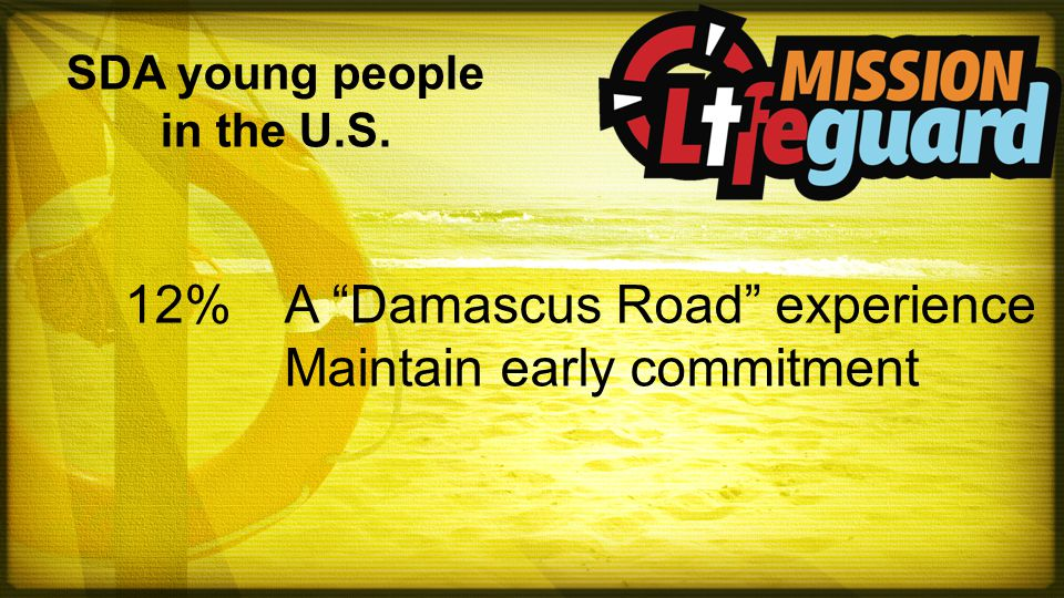 "SDA young people in the U.S. 12%A ""Damascus Road"" experience Maintain early commitment"