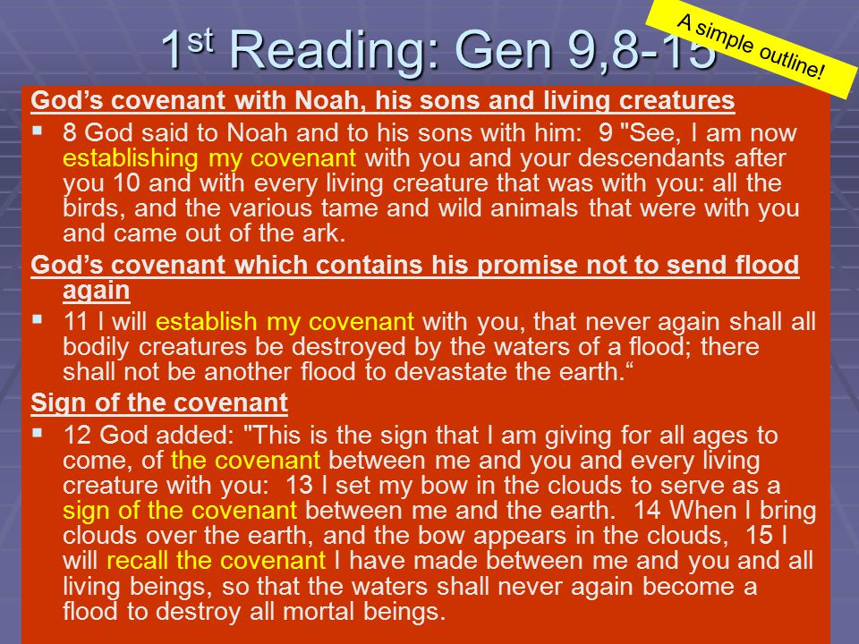 2 nd Reading: 1 Pet 3,18-22 Christ's suffering and death   18 Christ suffered for sins once, the righteous for the sake of the unrighteous, that he might lead you to God.