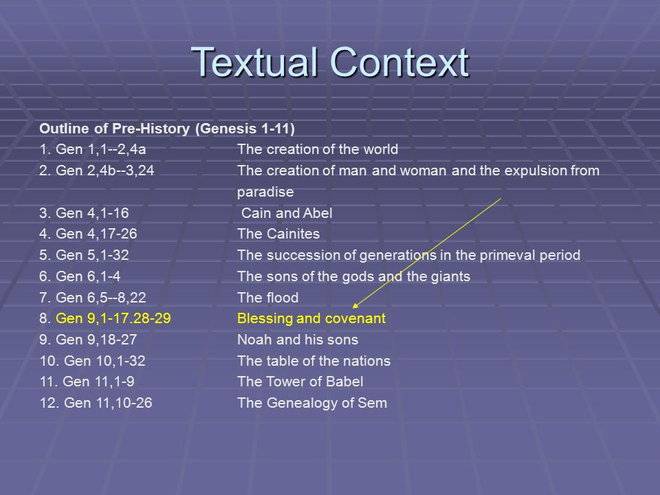 Textual Context Outline of Pre-History (Genesis 1-11) 1.