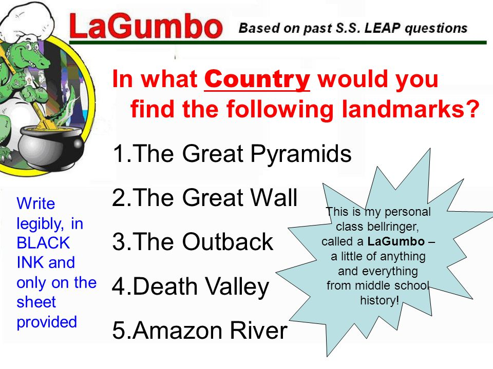 In what Country would you find the following landmarks.