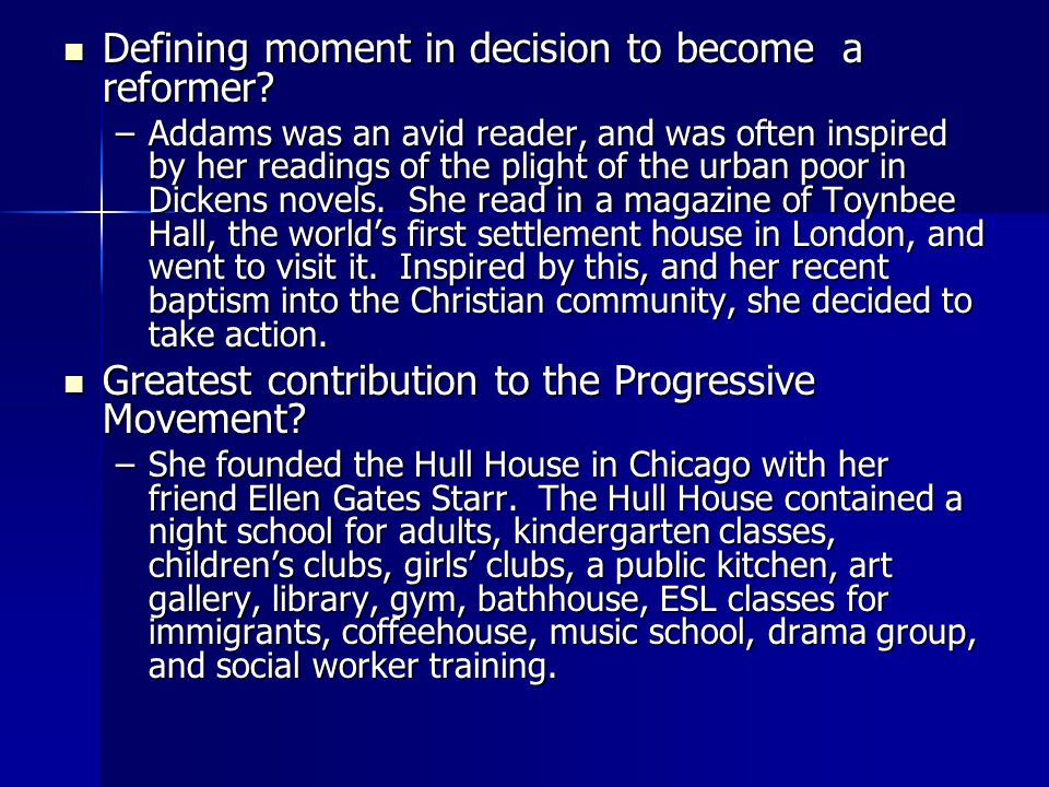 Bibliography http://en.wikipedia.org/Jane_Addams http://en.wikipedia.org/Jane_Addams http://en.wikipedia.org/Jane_Addams http://www.nobelprize.org/nobel_prize s/peace/laureates/1931/addams_bio.h tml http://www.nobelprize.org/nobel_prize s/peace/laureates/1931/addams_bio.h tml http://www.nobelprize.org/nobel_prize s/peace/laureates/1931/addams_bio.h tml http://www.nobelprize.org/nobel_prize s/peace/laureates/1931/addams_bio.h tml http://www.ifsw.org/cm_dataJane- Addams.JPG http://www.ifsw.org/cm_dataJane- Addams.JPG http://www.ifsw.org/cm_dataJane- Addams.JPG http://www.ifsw.org/cm_dataJane- Addams.JPG