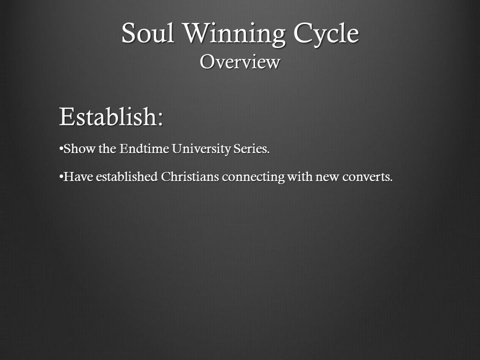 Soul Winning Cycle Overview Establish: Show the Endtime University Series. Show the Endtime University Series. Have established Christians connecting