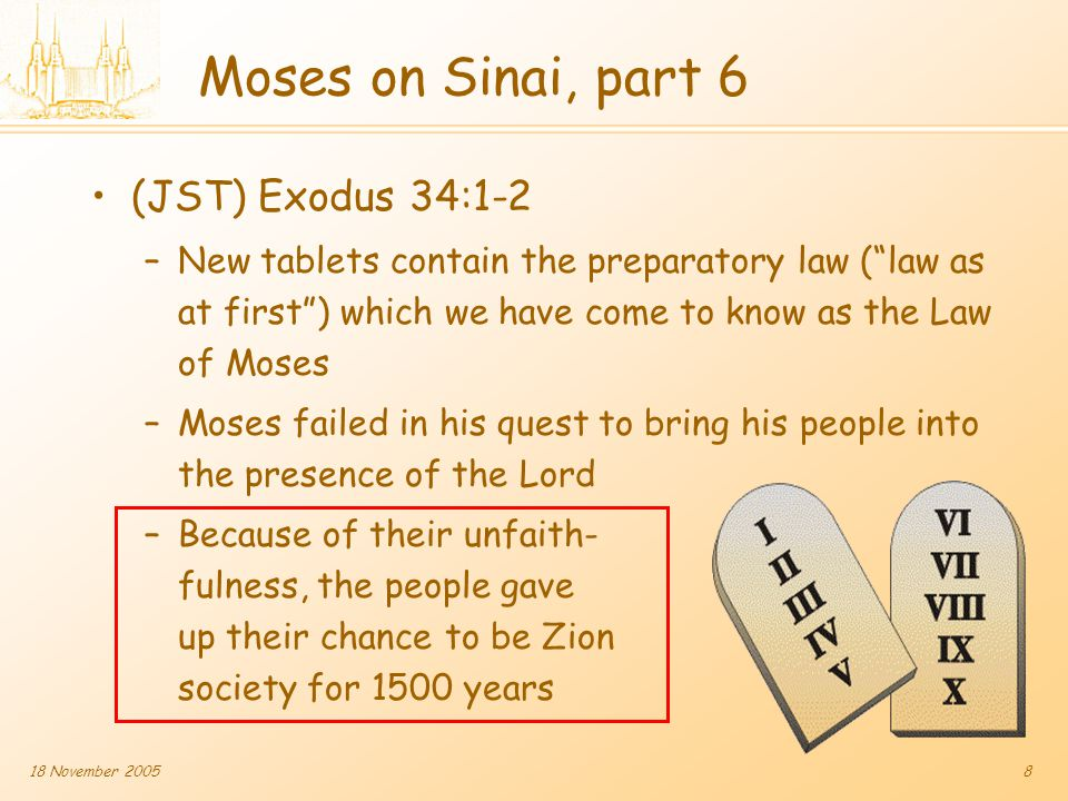 18 November 20059 Enoch and the City of Zion Moses 7:4 –Enoch sees Lord's face Moses 7:10-12 –Enoch preaches the gospel Moses 7:16 –Lord dwells with people Moses 7:18 –No poor among them Moses 7:19,21 –City built and taken The Voyage of Life: Youth (1842) Detail by Thomas Cole, National Gallery of Art Moses had seen Enoch's success in a vision, which example Moses followed unsuccessfully