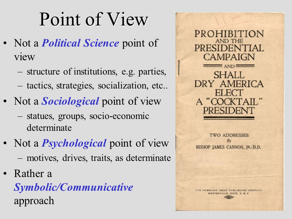 Point of View Not a Political Science point of view –structure of institutions, e.g.