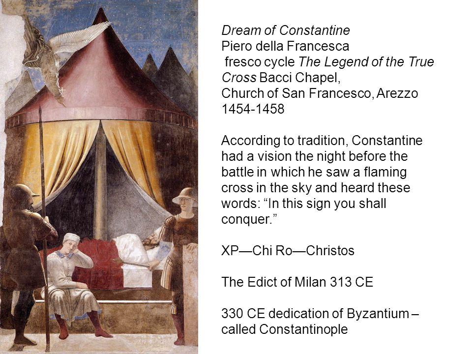 Dream of Constantine Piero della Francesca fresco cycle The Legend of the True Cross Bacci Chapel, Church of San Francesco, Arezzo 1454-1458 According