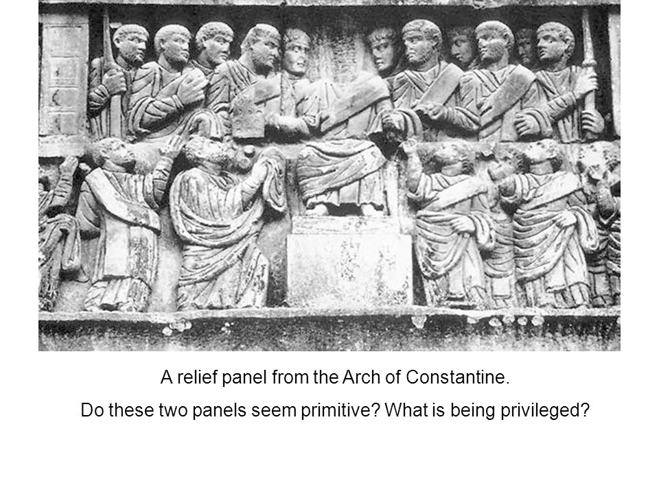 Stokstad writes, This two-dimensional, hierarchical approach and abstract style are far removed from the realism of earlier imperial reliefs.