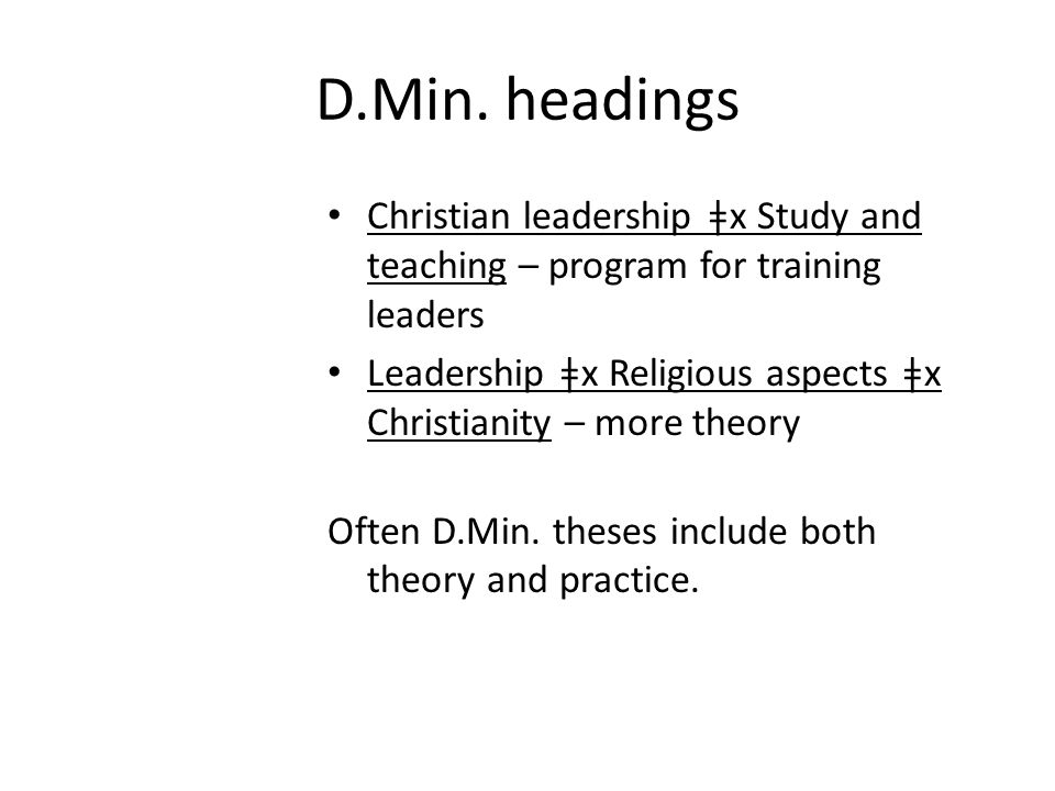 D.Min.headings Church group work - is often what is part of what is being done in D.Min.