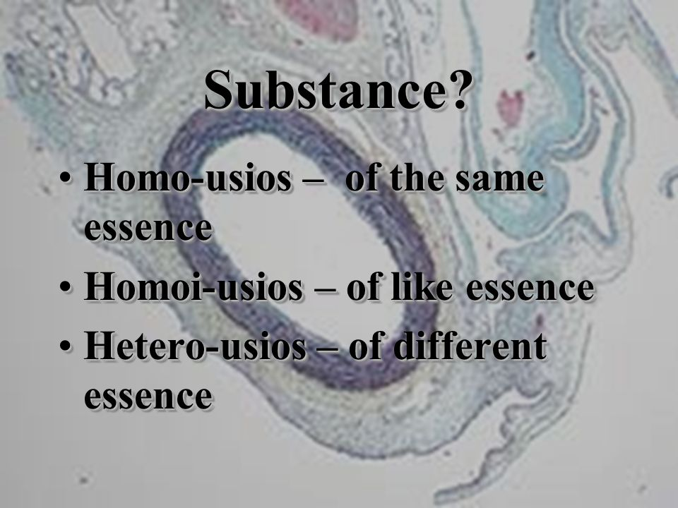 Substance?Substance? Homo-usios – of the same essenceHomo-usios – of the same essence Homoi-usios – of like essenceHomoi-usios – of like essence Heter