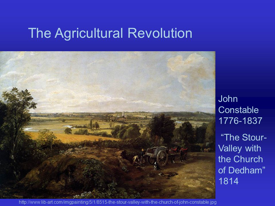 The Agricultural Revolution John Constable 1776-1837 The Stour- Valley with the Church of Dedham 1814 http://www.lib-art.com/imgpainting/5/1/8515-the-stour-valley-with-the-church-of-john-constable.jpg