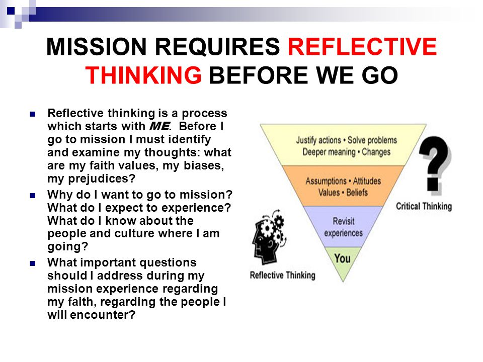MISSION REQUIRES REFLECTIVE THINKING BEFORE WE GO Reflective thinking is a process which starts with ME.