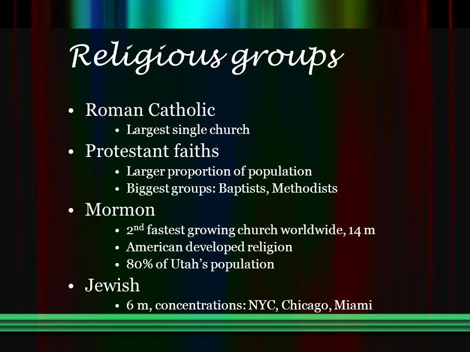 Religious groups Roman Catholic Largest single church Protestant faiths Larger proportion of population Biggest groups: Baptists, Methodists Mormon 2 nd fastest growing church worldwide, 14 m American developed religion 80% of Utah's population Jewish 6 m, concentrations: NYC, Chicago, Miami