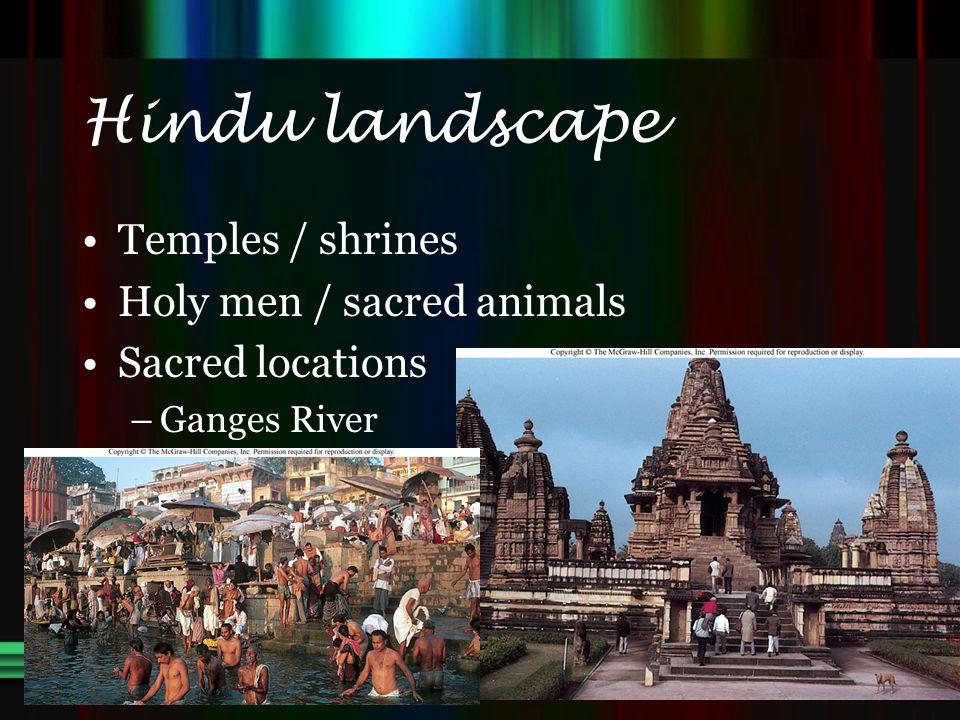 Hindu landscape Temples / shrines Holy men / sacred animals Sacred locations –Ganges River
