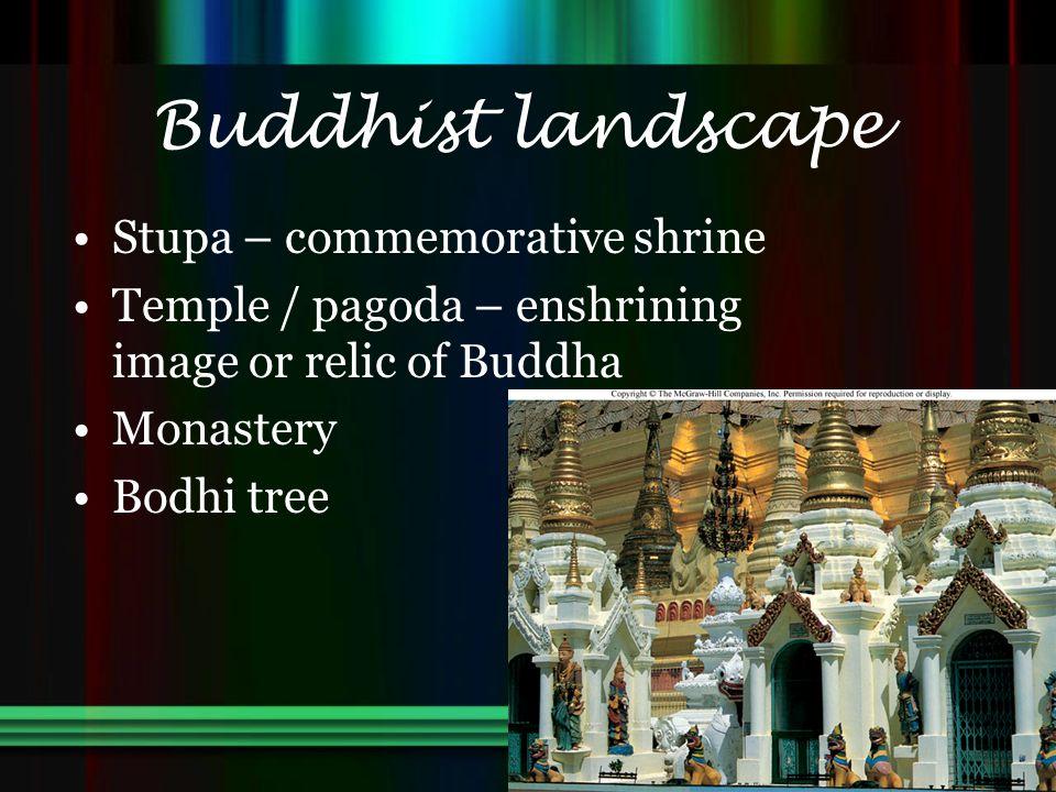 Buddhist landscape Stupa – commemorative shrine Temple / pagoda – enshrining image or relic of Buddha Monastery Bodhi tree