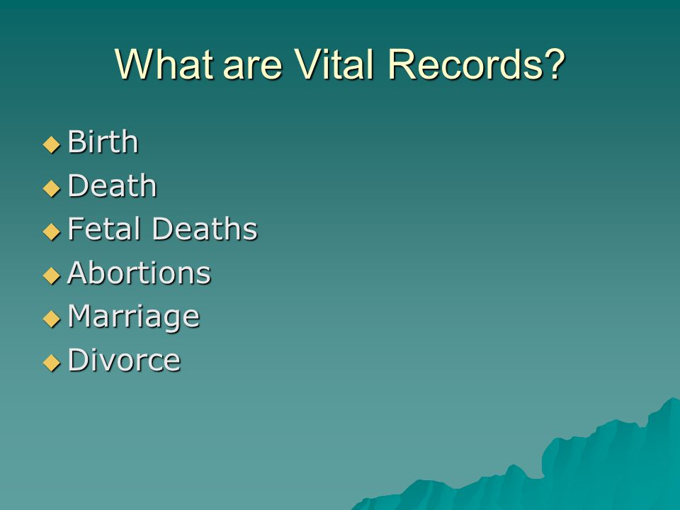 History of Vital Records The registration of births, marriages, and deaths has a long history in the United States, beginning with a registration law enacted by Virginia in 1632 and a modification of this law enacted by Massachusetts in 1639.