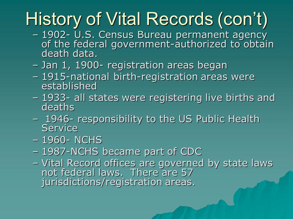 History of Vital Records (con't) –1902- U.S.