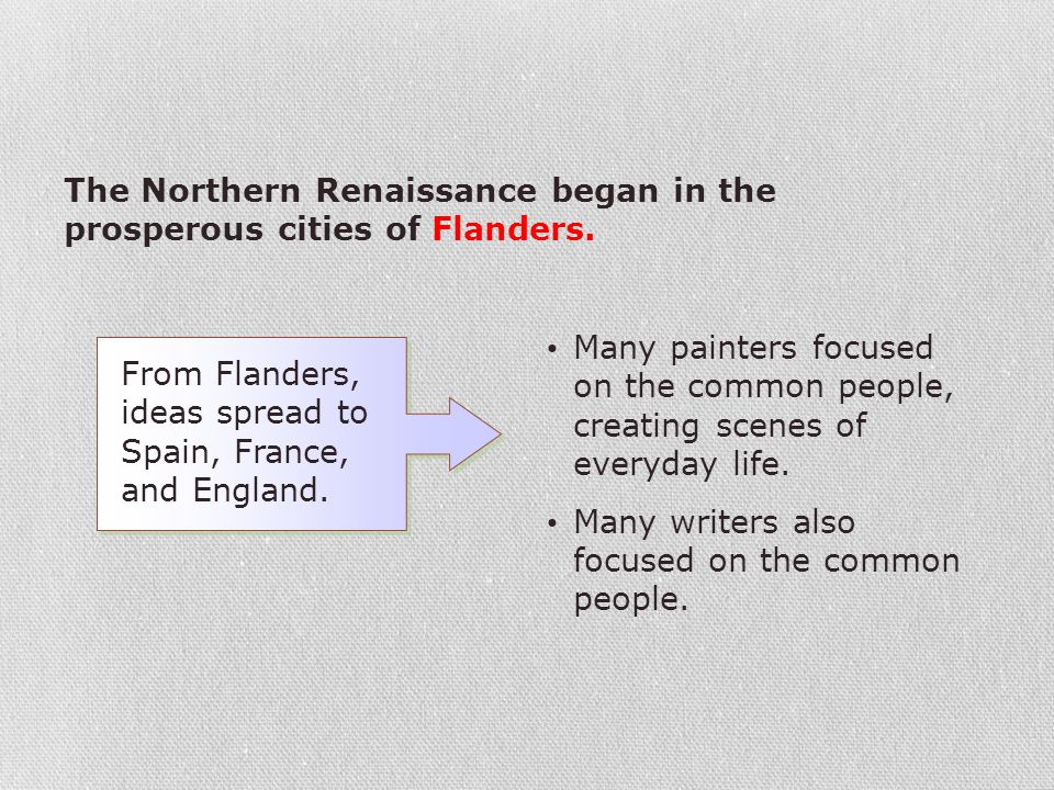 The Northern Renaissance began in the prosperous cities of Flanders. Many painters focused on the common people, creating scenes of everyday life. Man