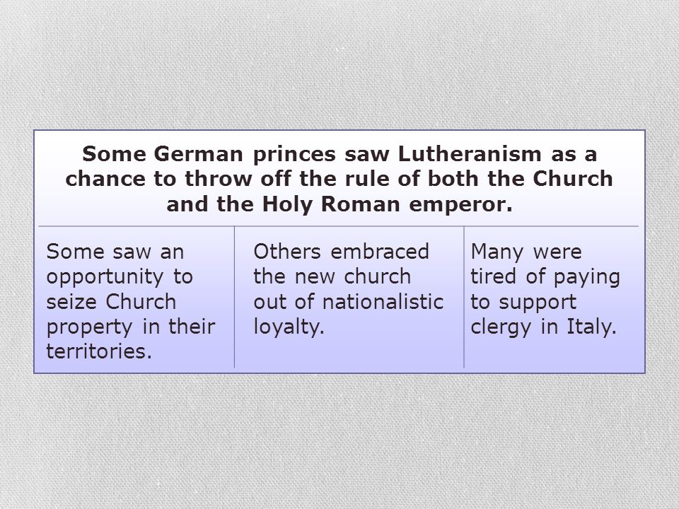 Some German princes saw Lutheranism as a chance to throw off the rule of both the Church and the Holy Roman emperor. Some saw an opportunity to seize
