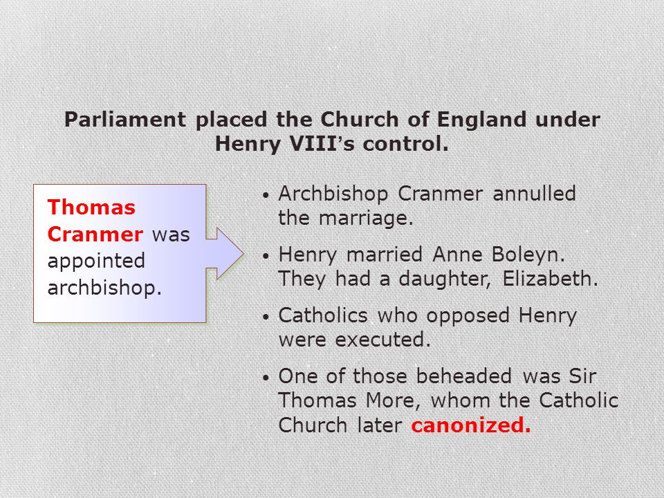 Archbishop Cranmer annulled the marriage. Henry married Anne Boleyn. They had a daughter, Elizabeth. Catholics who opposed Henry were executed. One of