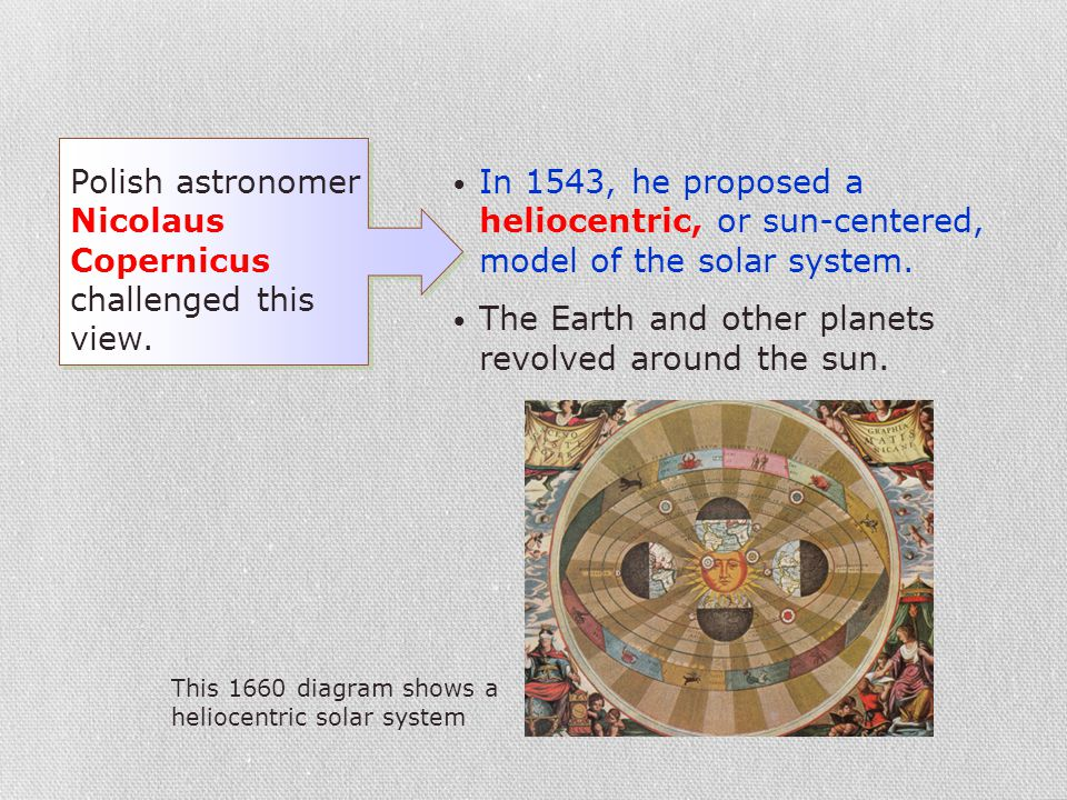 Polish astronomer Nicolaus Copernicus challenged this view. In 1543, he proposed a heliocentric, or sun-centered, model of the solar system. The Earth