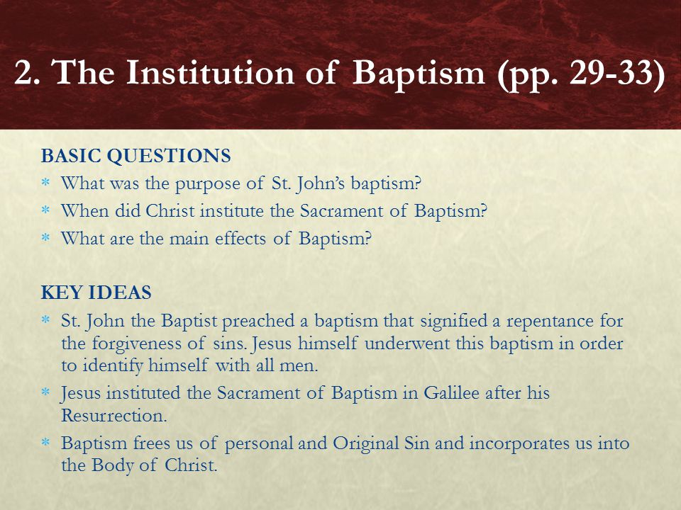 BASIC QUESTIONS  What was the purpose of St.John's baptism.