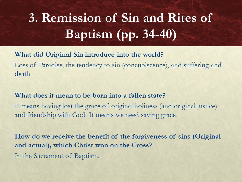 What did Original Sin introduce into the world.