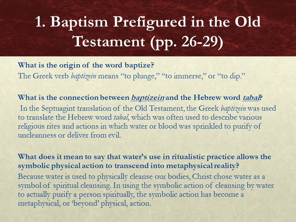 What is the origin of the word baptize.