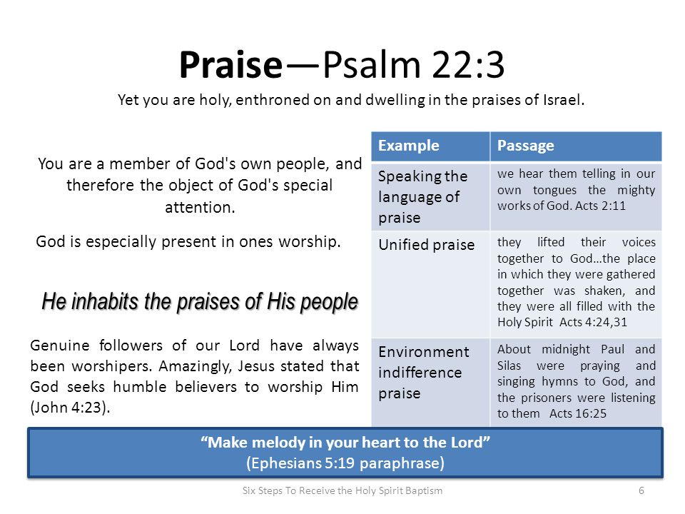 Praise—Psalm 22:3 ExamplePassage Speaking the language of praise we hear them telling in our own tongues the mighty works of God. Acts 2:11 Unified pr