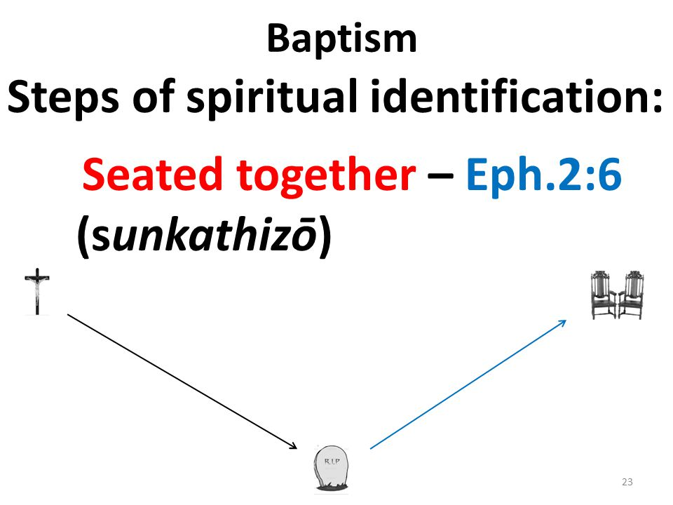 Baptism Steps of spiritual identification: Seated together – Eph.2:6 (sunkathizō) 23