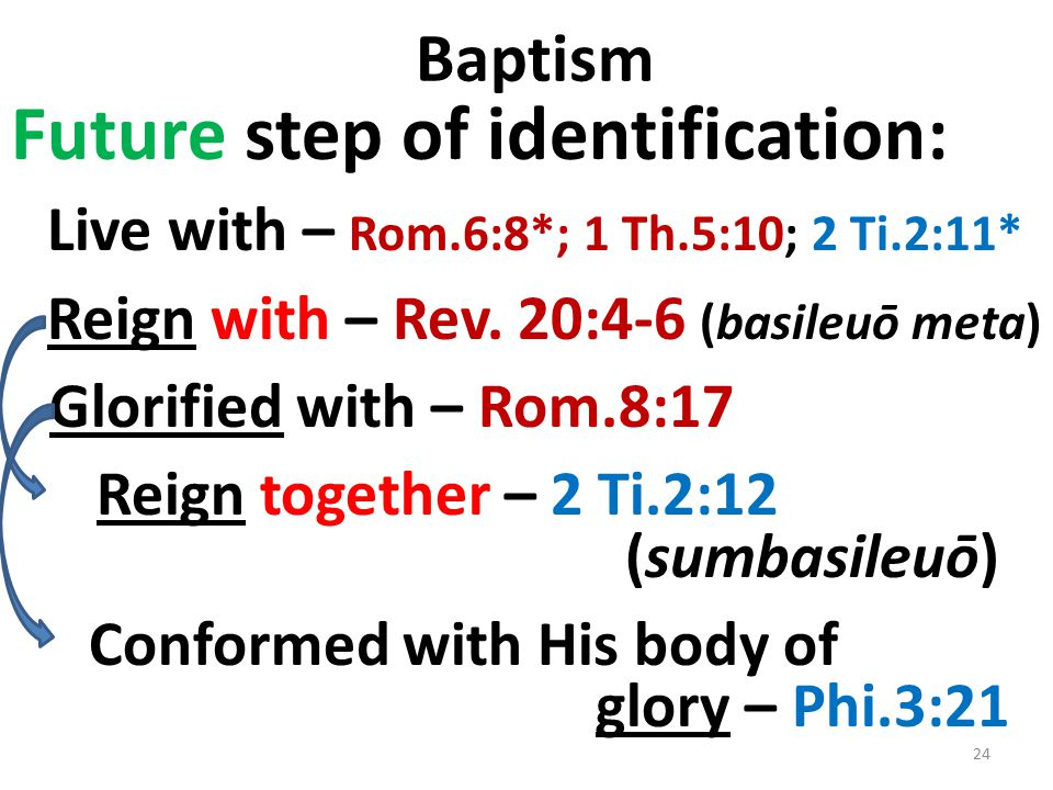 Baptism Future step of identification: Live with – Rom.6:8*; 1 Th.5:10; 2 Ti.2:11* Reign with – Rev.