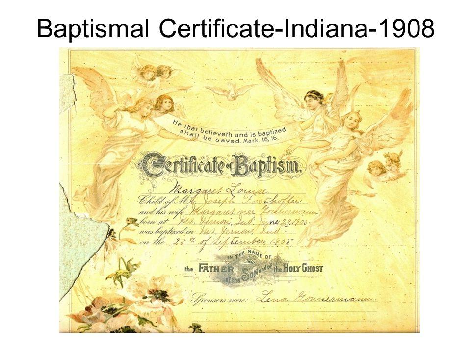 Baptismal Certificate-Indiana-1908