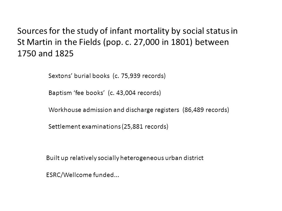Sources for the study of infant mortality by social status in St Martin in the Fields (pop.
