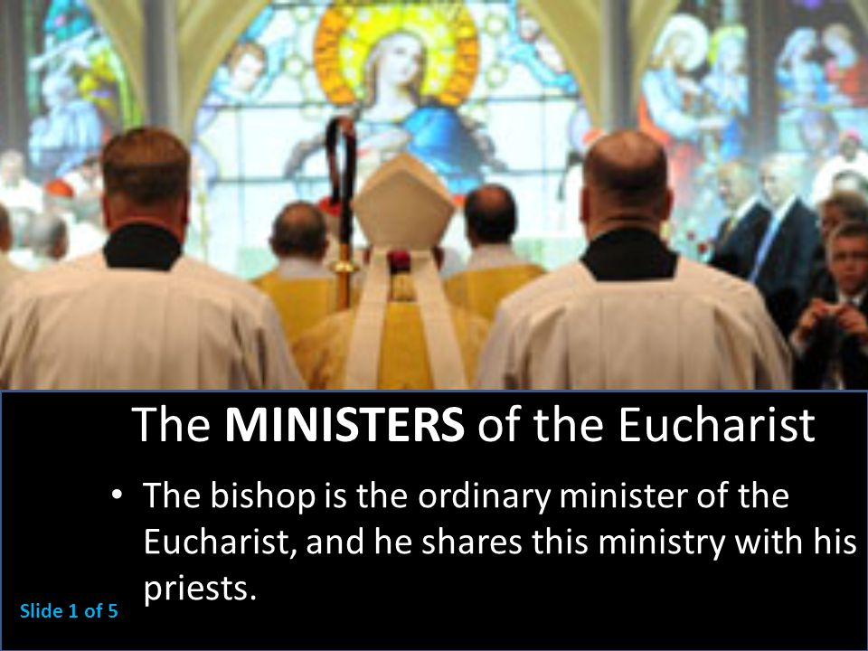 The MINISTERS of the Eucharist The bishop is the ordinary minister of the Eucharist, and he shares this ministry with his priests.