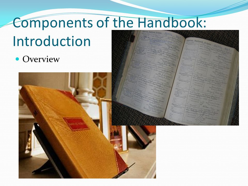 Components of the Handbook: Appendices Sample entries Resources