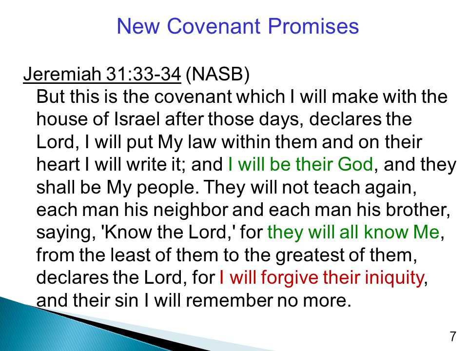 New Covenant Promises Jeremiah 31:33-34 (NASB) But this is the covenant which I will make with the house of Israel after those days, declares the Lord, I will put My law within them and on their heart I will write it; and I will be their God, and they shall be My people.