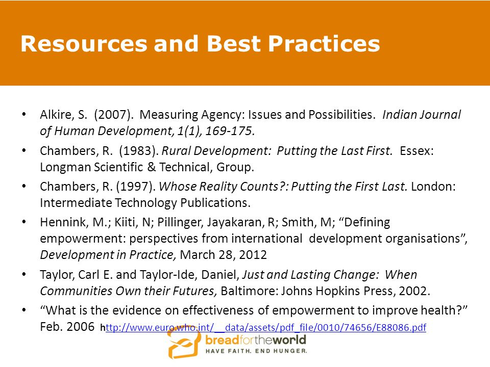 Resources and Best Practices Alkire, S.(2007). Measuring Agency: Issues and Possibilities.