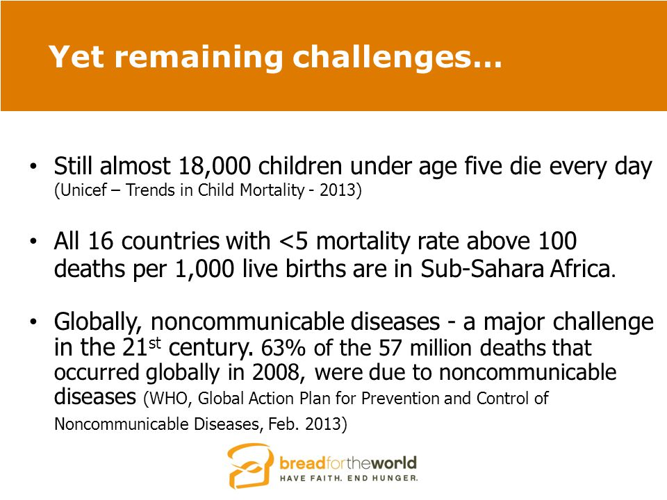 Yet remaining challenges… Still almost 18,000 children under age five die every day (Unicef – Trends in Child Mortality - 2013) All 16 countries with <5 mortality rate above 100 deaths per 1,000 live births are in Sub-Sahara Africa.