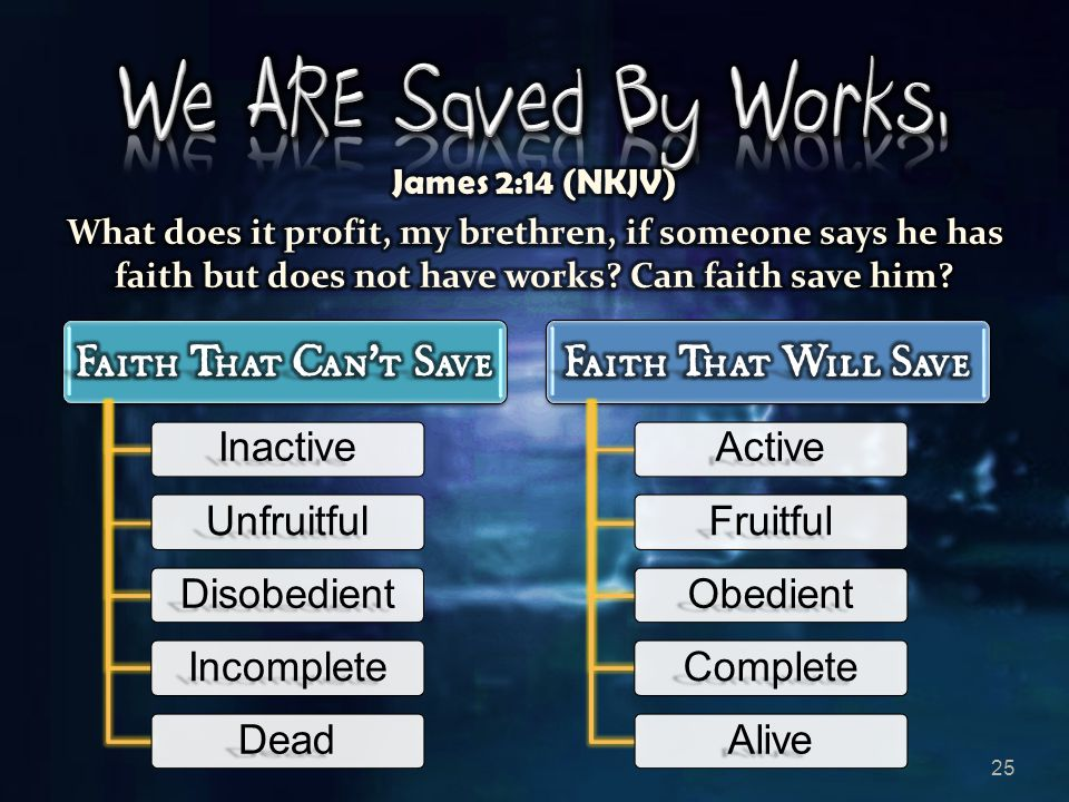 25 Inactive Unfruitful Disobedient Incomplete Dead Active Fruitful Obedient Complete Alive