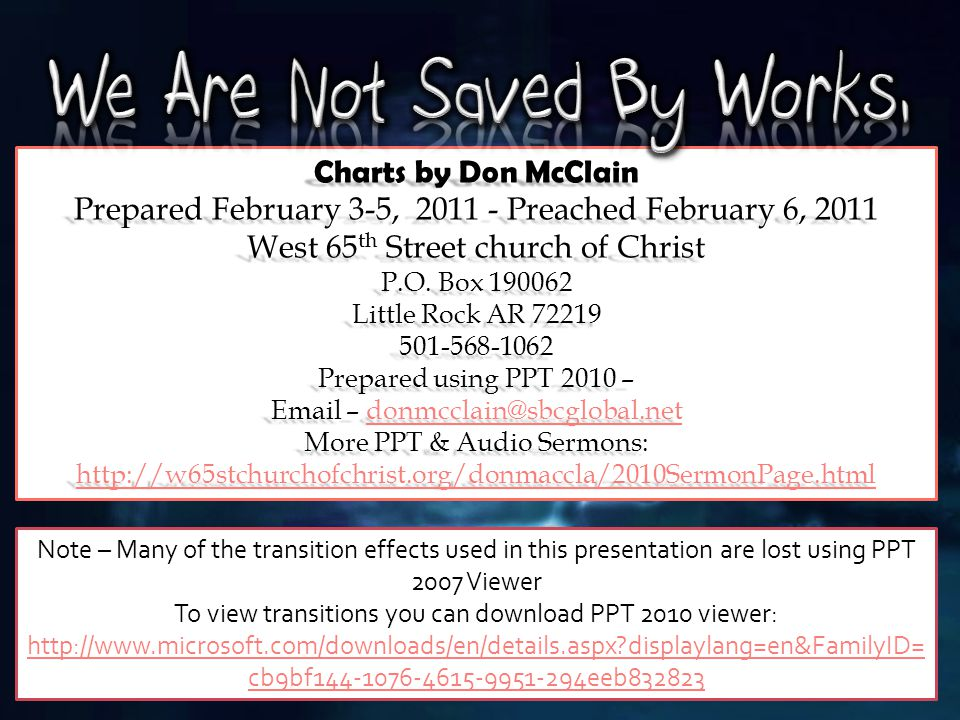 30 Charts by Don McClain Prepared February 3-5, 2011 - Preached February 6, 2011 West 65 th Street church of Christ P.O. Box 190062 Little Rock AR 722