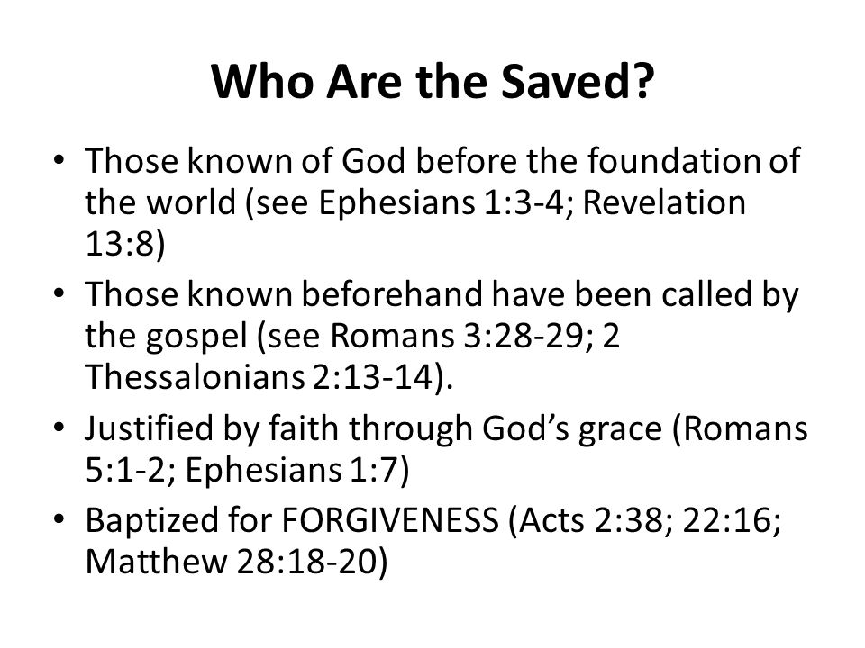 Who Are the Saved.