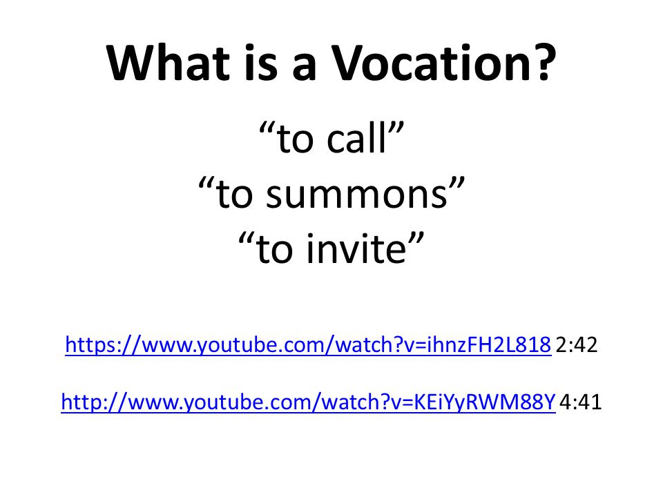 What is a Vocation.