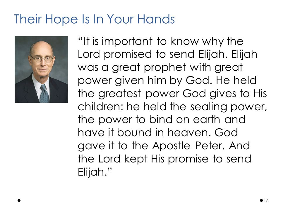 It is important to know why the Lord promised to send Elijah.