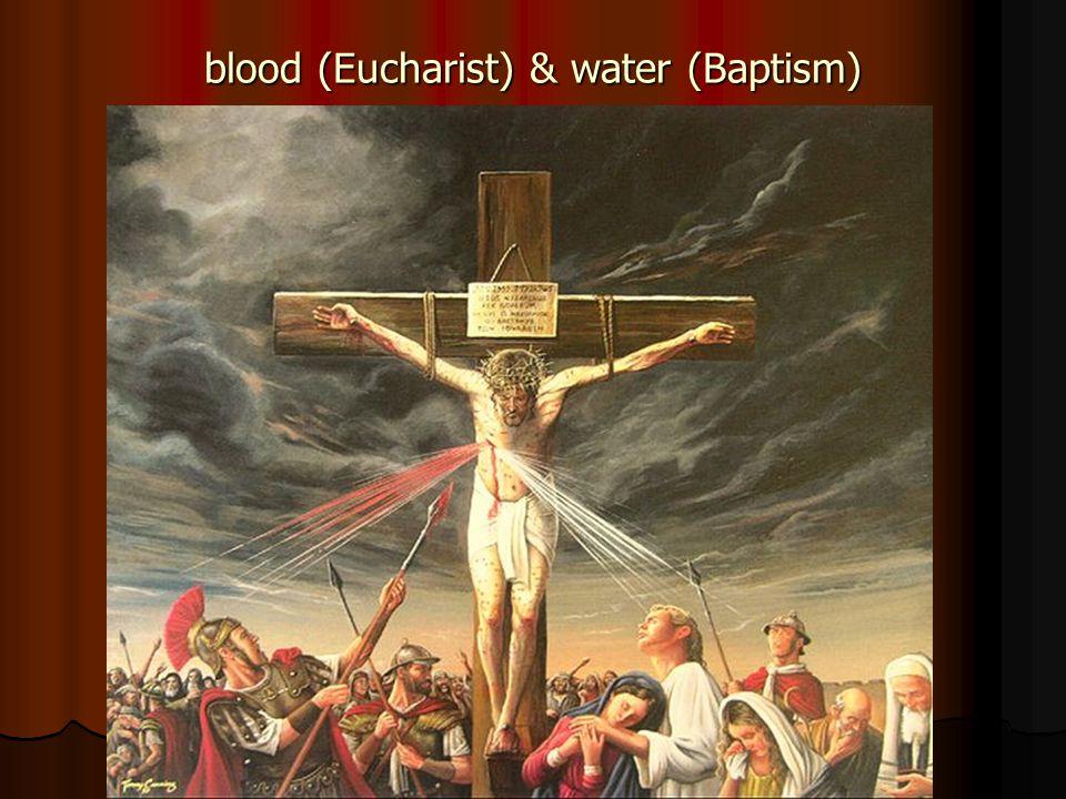 blood (Eucharist) & water (Baptism)