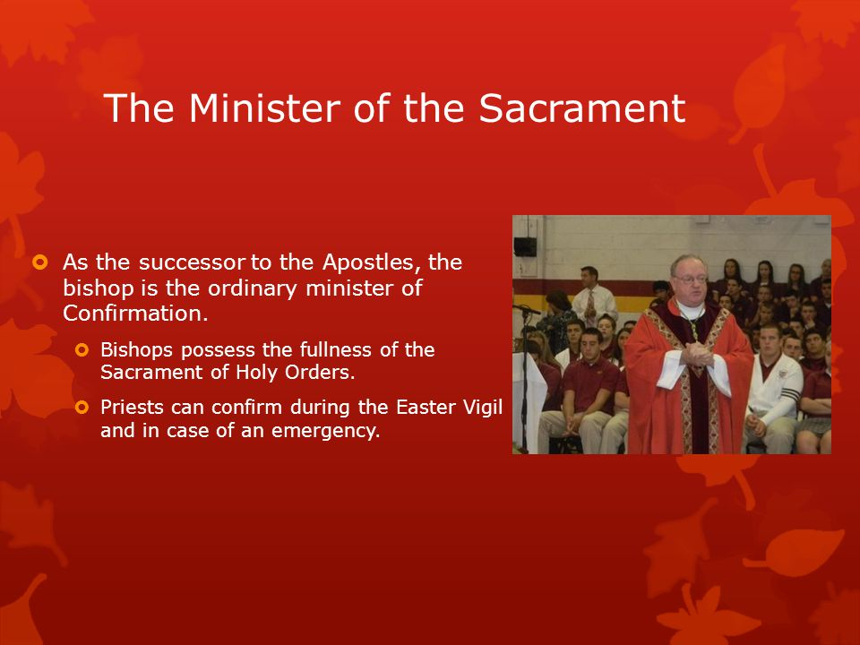 The Minister of the Sacrament  As the successor to the Apostles, the bishop is the ordinary minister of Confirmation.