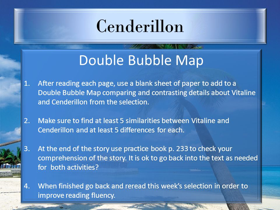 Cenderillon Double Bubble Map 1.After reading each page, use a blank sheet of paper to add to a Double Bubble Map comparing and contrasting details ab