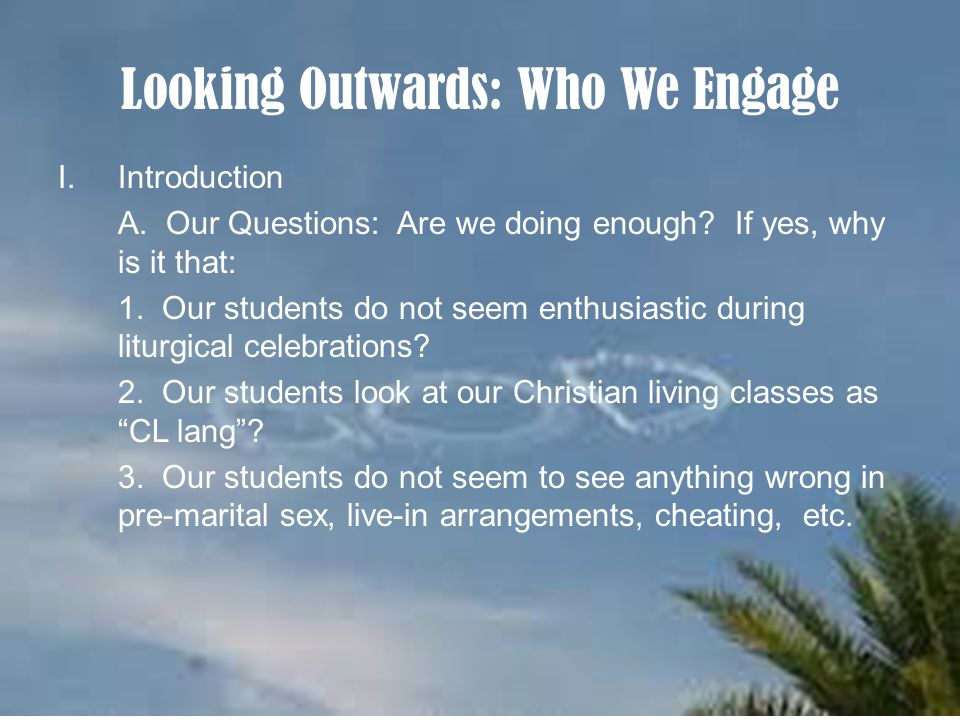 Looking Outwards: Who We Engage I.Introduction A. Our Questions: Are we doing enough.
